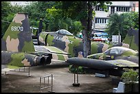 Fighter jets, War Remnants Museum, district 3. Ho Chi Minh City, Vietnam (color)