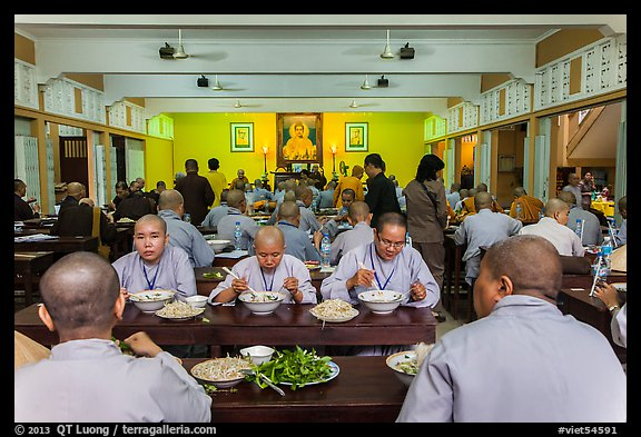 Monks and nuns having diner, An Quang Pagoda, district 10. Ho Chi Minh City, Vietnam (color)