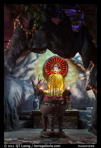 Buddha in grotto, Quoc Tu Pagoda, district 10. Ho Chi Minh City, Vietnam (color)