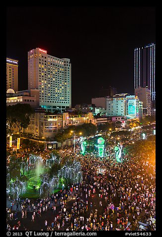 Packed Nguyen Hue boulevard on Christmas eve from above. Ho Chi Minh City, Vietnam (color)