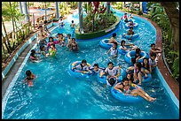 Lazy river ride, Dam Sen Water Park, district 11. Ho Chi Minh City, Vietnam (color)