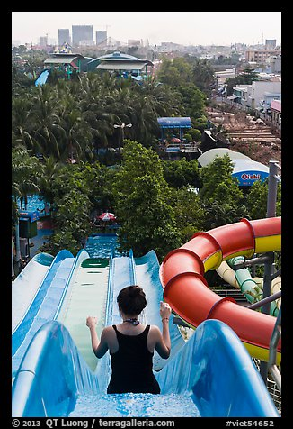 Cool Girls In Swimming Pool Water Slide At Aquapark Stock Photo 45104533