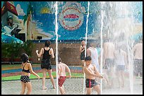 Group playing in water, Dam Sen Water Park, district 11. Ho Chi Minh City, Vietnam (color)
