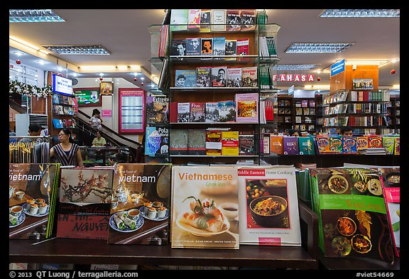 Books about Vietnam in bookstore. Ho Chi Minh City, Vietnam (color)