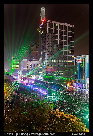 Laser show, central Saigon, New Year eve. Ho Chi Minh City, Vietnam (color)