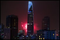 Bitexco tower with fireworks. Ho Chi Minh City, Vietnam (color)