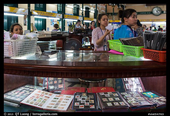 Stamp vending booth in central post office. Ho Chi Minh City, Vietnam (color)