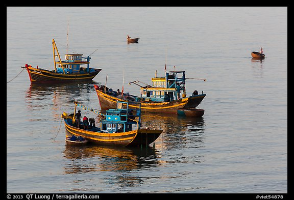 Fishing boats, early morning. Mui Ne, Vietnam (color)