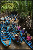 Traffic jam of boats, Phoenix Island. My Tho, Vietnam ( color)