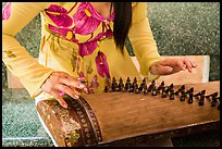 Close up of hands playing plucked zither. My Tho, Vietnam ( color)