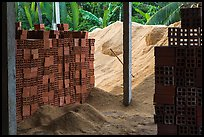 Bricks and rice hulk. Mekong Delta, Vietnam ( color)
