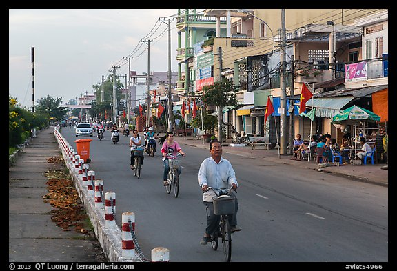 Bicycles on riverfront street. Tra Vinh, Vietnam (color)