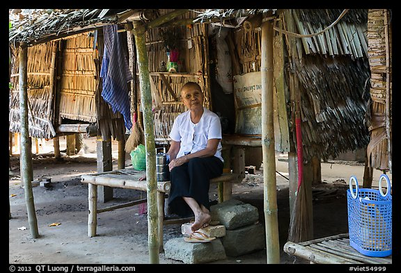 Woman at retreat hut, Hang Pagoda. Tra Vinh, Vietnam (color)