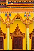 Facade and roof detail, Khmer pagoda. Tra Vinh, Vietnam ( color)