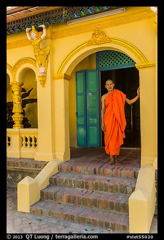 Monk standing in entrance, Ang Pagoda. Tra Vinh, Vietnam (color)