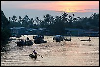 Boats and river at sunrise, Phung Diem. Can Tho, Vietnam ( color)