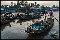 Woman paddles boat loaded with produce, Phung Diem floating market. Can Tho, Vietnam ( color)