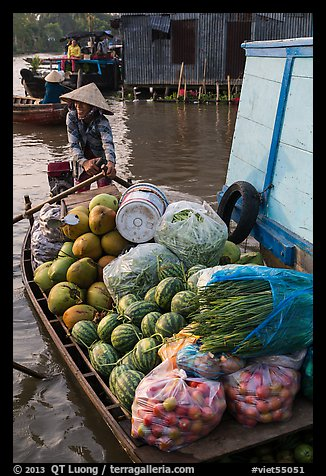 Woman paddles boat fully loaded with produce, Phung Diem. Can Tho, Vietnam (color)