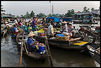 Large gathering of boats at Phung Diem floating market. Can Tho, Vietnam ( color)