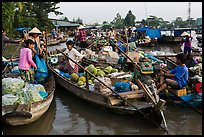 Produce transaction on Phung Diem floating market. Can Tho, Vietnam (color)