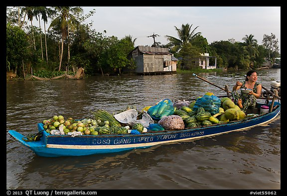 Woman with boat loaded with produce eating noodles. Can Tho, Vietnam (color)