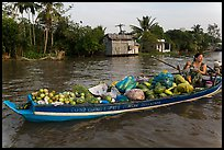 Woman with boat loaded with produce eating noodles. Can Tho, Vietnam ( color)