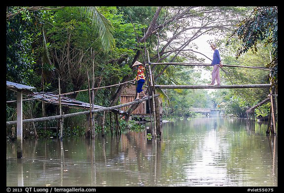 Villagers crossing monkey bridge. Can Tho, Vietnam (color)