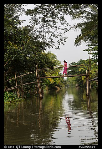 Woman walking across monkey bridge. Can Tho, Vietnam (color)