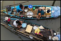 Two sampan boats side-by-side seen from above. Can Tho, Vietnam ( color)