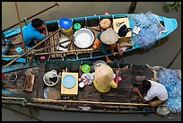 Two fishing sampans side-by-side seen from above. Can Tho, Vietnam (color)