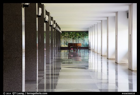 Corridor, piano, and reflections, Reunification Palace. Ho Chi Minh City, Vietnam (color)