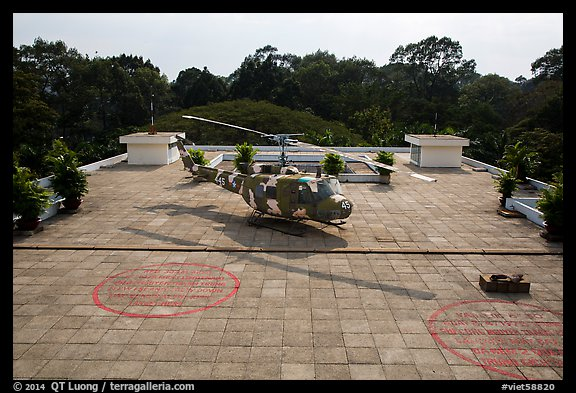 Terrace with helicopter, Reunification Palace. Ho Chi Minh City, Vietnam (color)