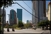 Statue of hero Tran Hung Dao and high-rises. Ho Chi Minh City, Vietnam ( color)