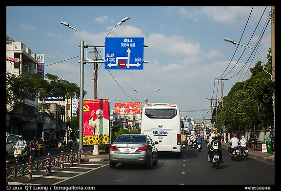Boulevard and directional signs near airport. Ho Chi Minh City, Vietnam (color)
