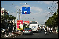 Boulevard and directional signs near airport. Ho Chi Minh City, Vietnam ( color)