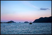 Boats and Con Son Bay at sunset. Con Dao Islands, Vietnam ( color)
