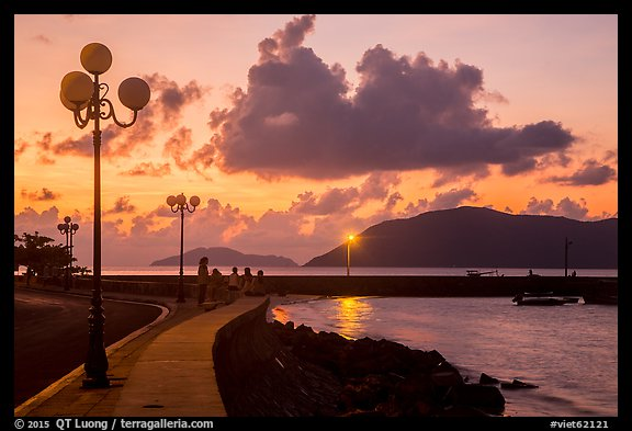 Lamps and Con Son seafront before sunrise. Con Dao Islands, Vietnam (color)