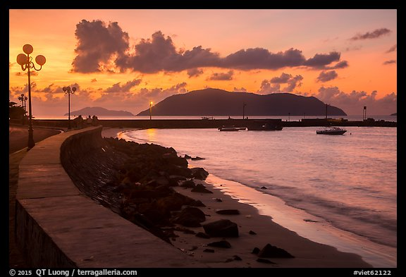 Seafront and Wharf 914 before sunrise, Con Son. Con Dao Islands, Vietnam (color)