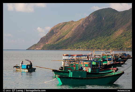 Fishing boats and hills, Con Son. Con Dao Islands, Vietnam (color)