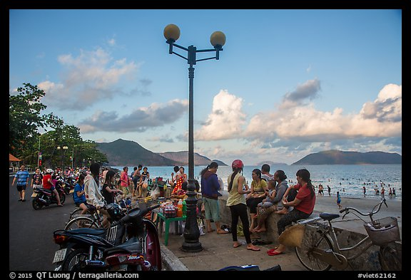 Waterfront becomes animated in late afternoon, Con Son. Con Dao Islands, Vietnam (color)