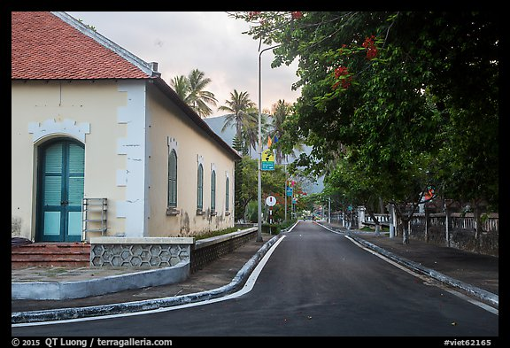 Old custom house and street, Con Son. Con Dao Islands, Vietnam (color)