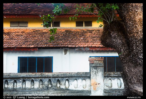 Close-up of historic building, Con Son. Con Dao Islands, Vietnam (color)