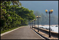 Deserted seafront promenade lined up with lamps, Con Son. Con Dao Islands, Vietnam ( color)