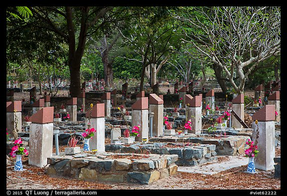 Hang Duong memorial cemetery. Con Dao Islands, Vietnam (color)