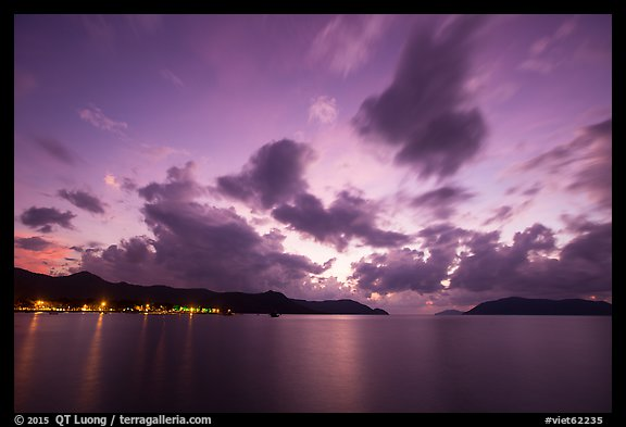 Con Son lights and tropical clouds at dawn. Con Dao Islands, Vietnam (color)