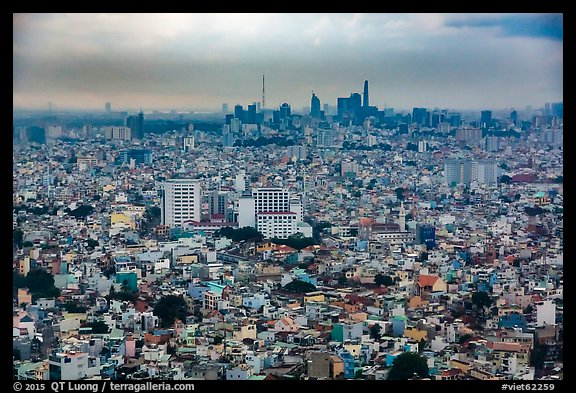 Aerial view of city skyline. Ho Chi Minh City, Vietnam (color)