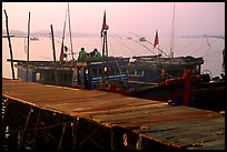 Pier and fishing boats, Nhat Le River, Dong Hoi. Vietnam