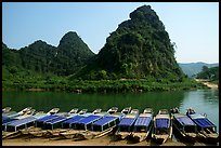 Tour boats and forest-covered limestone rocks, Son Trach. Vietnam ( color)