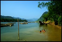 River with kids playing, Son Trach. Vietnam ( color)