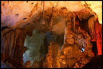 Illuminated cave formations, upper cave, Phong Nha Cave. Vietnam (color)